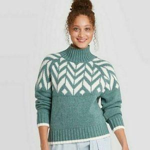 Blue Faire Isle Turtleneck Sweater Women's…